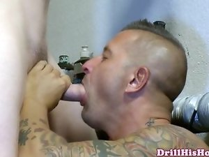 Muscular stud is giving head