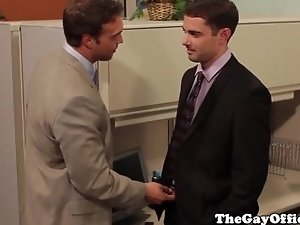 Gay office hunks squirting their loads