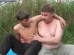 Teen gay enjoys cock freting outside