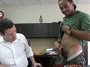 Banker gets his ass gaped in his office