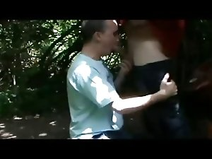 Sucking cock in the forest